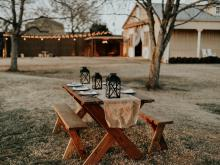 November 2020 photo writing prompt contest (fall backyard picnic table set for a meal)