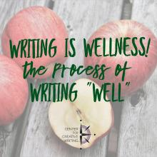 "Writing is wellness! The process of writing ""well"" (text over lightened image of apples)"