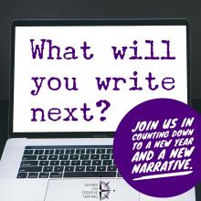 What will you write next? (text over image of blank laptop screen)